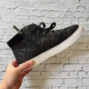 UGGYS | Genuine black glitter high top sneakers